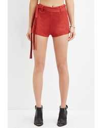 Forever 21 | Brown Fringed Faux Suede Shorts | Lyst