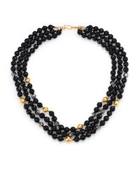 Chan Luu | Black Onyx & Crystal Triple-strand Necklace | Lyst