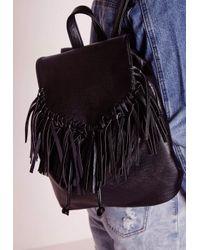 Missguided | Tassel Trim Classic Backpack Black | Lyst