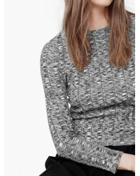 Mango | Gray Ribbed Cotton-blend Sweater | Lyst