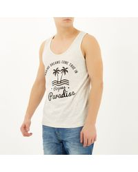 River Island - Gray Ecru Paradise Curved Hem Vest for Men - Lyst