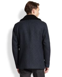 Theory - Blue Shearling-Collar Peacoat for Men - Lyst