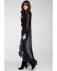Forever 21 - Black Fringed Chantilly Lace Kimono - Lyst