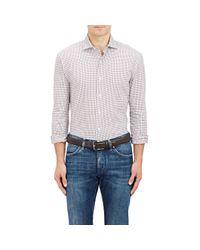 Barneys New York - Gray Checked Flannel Dress Shirt for Men - Lyst