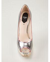 Fendi - Metallic Peep-toe Pumps - Lyst