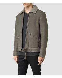 AllSaints - Gray Pilot Shearling Jacket for Men - Lyst