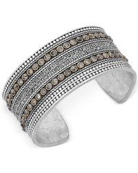 Lucky Brand - Metallic Two-tone Decorative Cuff Bangle Bracelet - Lyst