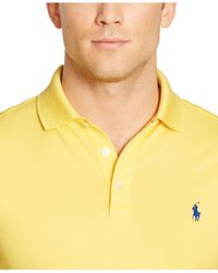 Polo Ralph Lauren - Yellow Custom-Fit Stretch-Mesh Polo for Men - Lyst