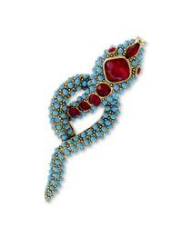 Kenneth Jay Lane   Blue Turquoise Snake Brooch   Lyst