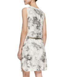 Vince - White Sleeveless Marble-print Dress - Lyst
