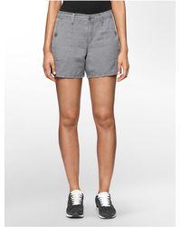 Calvin Klein - Gray Jeans Lightweight Linen Shorts - Lyst