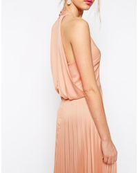 ASOS | Natural Pleat Deep Plunge Maxi Dress | Lyst