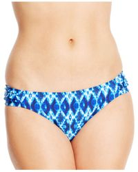 Jessica Simpson - Blue Ruched-Side Hipster Bikini Bottom - Lyst