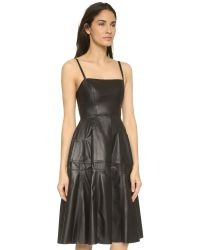 Vera Wang Collection | Leather Camisole Dress - Black | Lyst