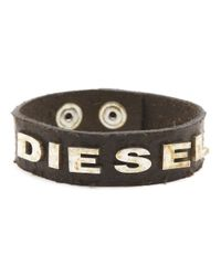 DIESEL | Albin Aged Brown Leather Bracelet With Rusted Lettering for Men | Lyst