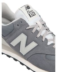 New Balance | Gray 574 Nylon & Suede Sneakers | Lyst