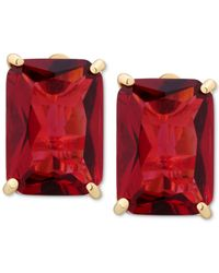 T Tahari | Metallic Gold-tone Red Crystal Clip-on Earrings | Lyst