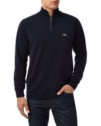 Lacoste | Blue Marl Knit Sweater With Zip Collar for Men | Lyst