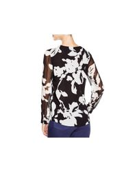Calvin Klein - Multicolor Abstract Floral Print Blouse - Lyst