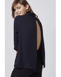 TOPSHOP | Blue Pinstripe Roll-neck Top | Lyst