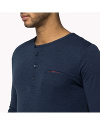 Tommy Hilfiger | Blue Cotton Blend Henley for Men | Lyst