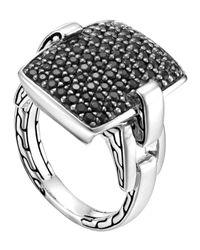 John Hardy | Metallic Classic Chain Silver Lava Black Sapphire Ring | Lyst