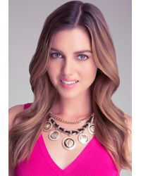 Bebe - Metallic Lion Medallion Necklace - Lyst