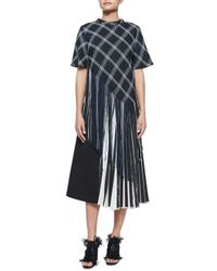 Proenza Schouler - Blue Plaid Button-back Asymmetric Fringe Top - Lyst