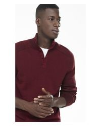 Express | Red Buttoned Mock Neck Plaited Sweater for Men | Lyst
