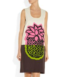 Boutique Moschino - Pink Printed Cotton-canvas Shift Dress - Lyst