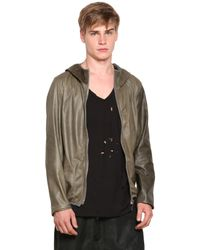 Giorgio Brato | Green Super Light Nappa Leather Hooded Jacket for Men | Lyst