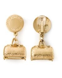 Moschino | Metallic 'hip Bags' Clip-on Earrings | Lyst