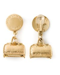 Moschino - Metallic 'hip Bags' Clip-on Earrings - Lyst