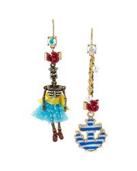 Betsey Johnson - Blue Twotone Mismatched Skeleton and Anchor Drop Earrings - Lyst