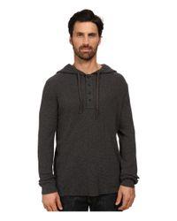 DKNY - Gray Long Sleeve Heavy Weight Slub Waffle Hooded Henley for Men - Lyst