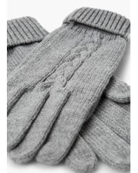 Mango - Gray Ribbed Knit Gloves for Men - Lyst