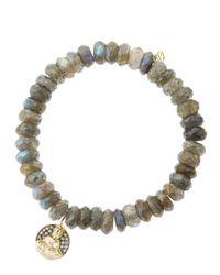 Sydney Evan | Gray 8mm Faceted Labradorite Beaded Bracelet with 14k Golddiamond Sitting Buddha Charm Made To Order | Lyst