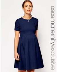 ASOS - Blue Slash Neck Skater Dress With Short Sleeve - Lyst