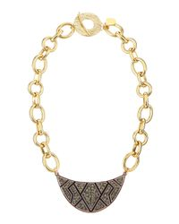 Devon Leigh - Metallic Pewter Crystal Wedge Pendant Necklace - Lyst