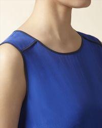 Jaeger - Blue Silk Sleeveless Shell Top - Lyst