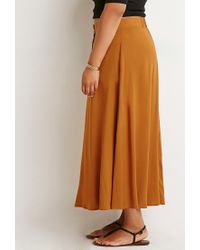Forever 21 - Brown Plus Size Buttoned High-slit Maxi Skirt - Lyst