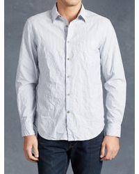 John Varvatos | Blue Cotton Stripe Shirt for Men | Lyst
