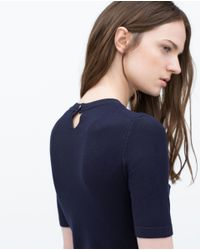 Zara | Blue Short Sleeve Knit Sweater | Lyst
