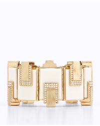 Ann Taylor - White Art Deco Stretch Bracelet - Lyst