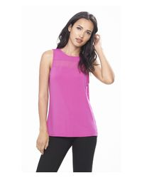 Express | Purple Mesh Inset Strappy Back Tank | Lyst