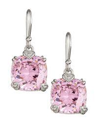 Judith Ripka - Metallic Pink Crystal Cushion Earrings - Lyst