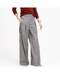 J.Crew | Gray Wide-leg Pant In Glen Plaid Wool | Lyst