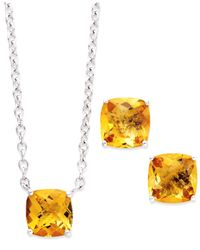 Macy's - Metallic Sterling Silver Jewelry Set, Cushion-Cut Citrine Earrings And Pendant (5 Ct. T.W.) - Lyst