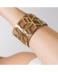 Anna Byers - Metallic Wide Perspex Cuff Tinted Grey & Gold - Lyst