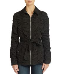 Betsey Johnson | Black Crinkle Zip Front Jacket | Lyst